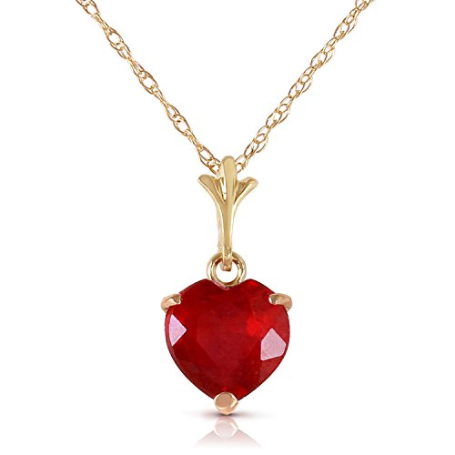 1.45 Carat 14k Solid Gold Necklace with Natural Heart-shaped Ruby