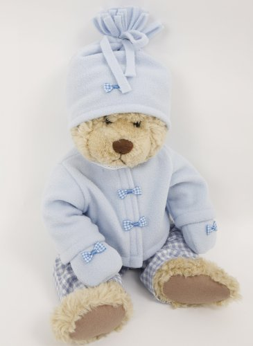 NEW! PALE BLUE FLEECE JACKET , HAT AND MITTENS SET 18-20 INS DOLLS AND BEARS [ NOT INCLUDING TROUSERS]