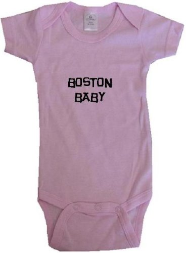 BOSTON BABY / HURRY UP - City Series - Pink Onesie / Baby T-shirt - size Medium (12-18M) at Amazon.com