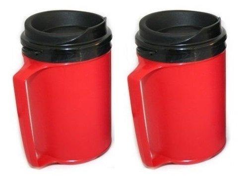 Set Of 2 - 12 Oz. Double Wall Foam Insulated Classic Tumbler Coffee Mug (Red)