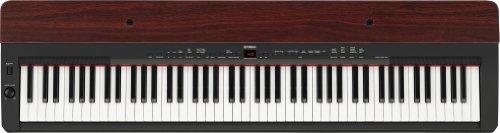 Big Save! Yamaha P155 Contemporary Piano with Mahogany Top Board, Black