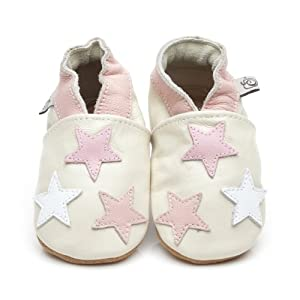 Suaves Zapatos De Cuero Del Bebé Poco Estrellas Rosa 12-18 meses
