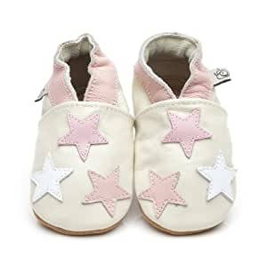 Chaussons Bébé en cuir doux Petite Étoiles Rose 12/18 mois
