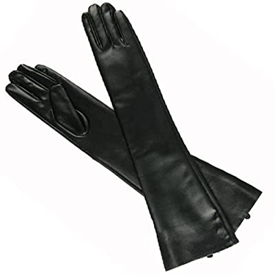New Hot Sexy Black PU Long Arm Warmer Dress Up Gloves /Lady Gaga Gossip Girl Kim Size L