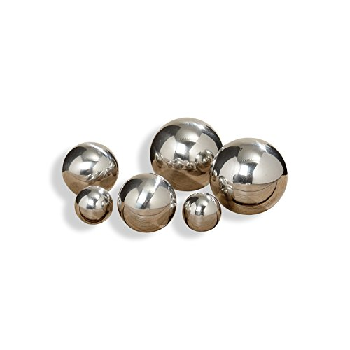 The Crosby Street Stainless Steel Gazing Balls, Set of 6, Ranging in Size from 1