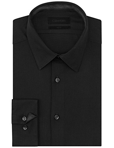 Calvin-Klein-Dual-Tone-Slim-Fit-Black-Dress-Shirt-Mens-Size-165-3435