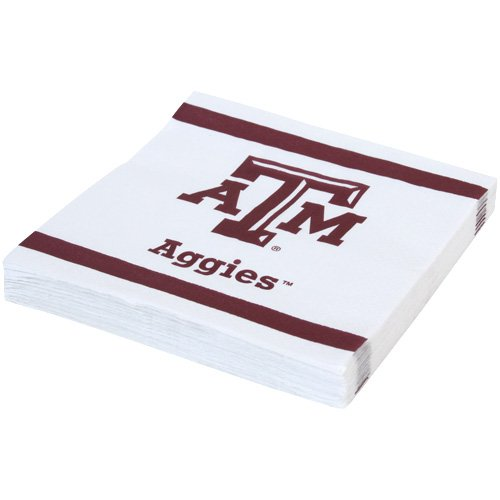 Mayflower Distributing Company 24 Count Texas A and M Beverage Napkin, Multicolor