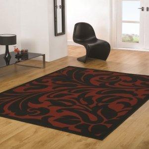 Element Warwick Red / Black Contemporary Rug Rug Size: 160cm x 120cm (5 ft 3 in x 3 ft 11 in) by Flair Rugs