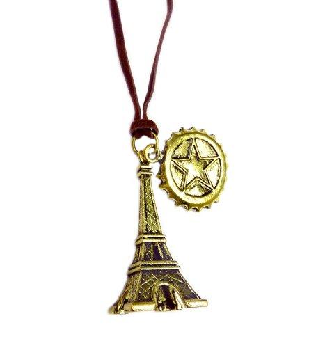 Tdz Vintage Eiffel Tower & Coin Cord Necklace (Bronze)