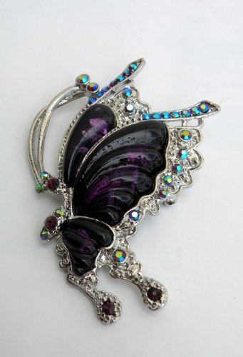 Gorgeous Butterfly Design Lady Pin Brooch -Silver Metallic With Rhinestone,Beautiful Design 2