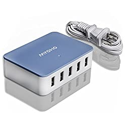 MYOHO 50W (10A) Five Port (5-Port) Intelligent High Speed USB Desktop Charger; Rapid charging of up to 5 mobile devices; 2.4 Amps per port up to a combined output of 10 Amps; Smart sensing and intelligent detection circuit; f