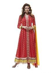 Nirali Women's Georgette Unstitched Dress Material (NRHAR NO 1534_Red Orange Yellow)