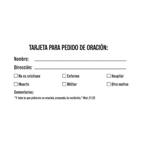 Prayer Request Card: Tarjeta Para Peticion de Oracion (Spanish Edition