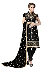 Black Embroidered Chanderi Silk Dress Material