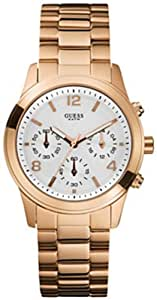Guess U13578L5 chrono white dial rose gold stainless steel bracelet women watch NEW