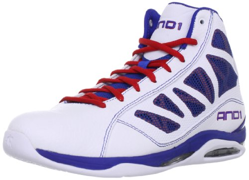 AND1 Entourage Mid Basketball Shoes, White/Vivid Red/Royal, 11 M US
