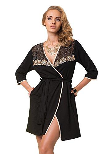 DONNA luxuriöser Viskose-Mantel Bademantel mit edlen Verzierungen, Taschen und Bindegürtel, schwarz/gold-beige, Gr. L