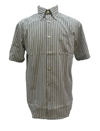 Men 39 s van heusen no iron short sleeve button down shirt grey stripe medium clothing - How to unwrinkle your clothes with no iron ...