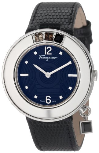 Ferragamo Women's F64SBQ9709 S009 Gancino Sparkling Black Genuine Leather with Stones Watch