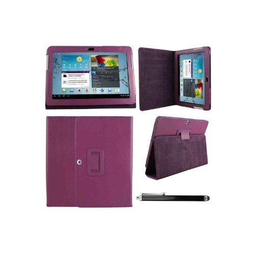 Hostey ® Samsung P5100 P5110 Tasche Hülle Schutzhülle Case Cover for Samsung Galaxy Tab 2 10.1 P5100 P5110 mit Ständer++ Displayschutzfolie (Bio Pu Leder) (Purpura /PurpleII)