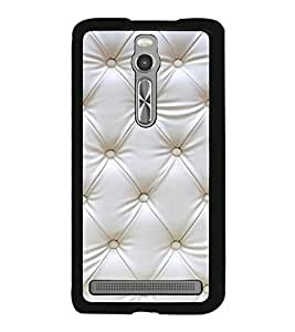 White Leather Design 2D Hard Polycarbonate Designer Back Case Cover for Asus Zenfone 2 ZE551ML