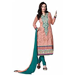 Ashika Women Cotton Dress Material (8561 _Peach & Green _56)