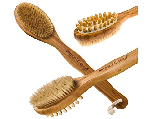 Body Brush For Dry Skin Brushing With Natural Boar