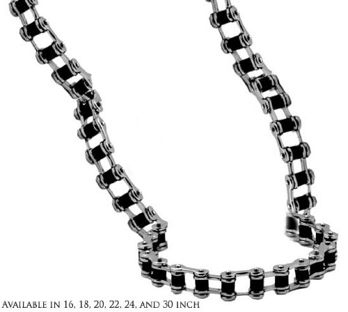 Mens Bike Chain Necklace with Black in 9MM Polished Stainless Steel