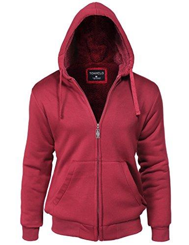 Kangaroo Pocket Warm Fur Inside Zipper Hoodie Jackets Burgundy 1XL