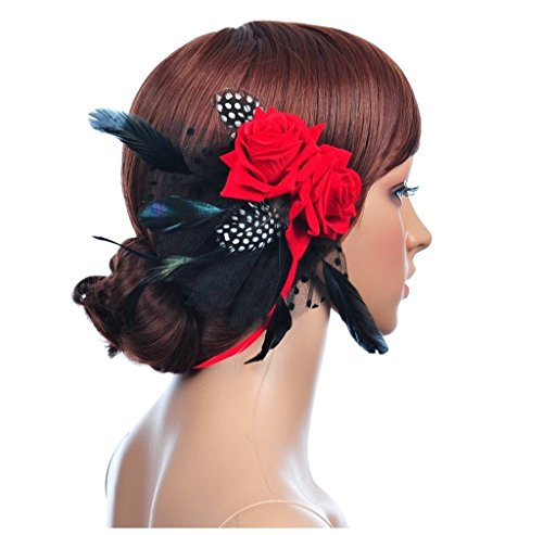 S&E Women's Polka Dot Net Wedding Bridal Fascinator Red Rose Feather Hair Accessory