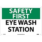 "NMC SF181RB OSHA Sign, ""SAFETY FIRST EYE WASH STATION"", 14"" Width x 10"" Height, Rigid Plastic, Green/Black on White"