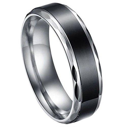 JewelryWe Gioielli nero acciaio inossidabile Vintage Amore Coppia matrimonio signore anello per fidanzamento/promessa/Eternita (Uomo)