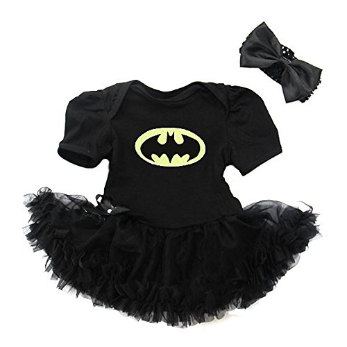 Cute 2 Piece Bat Superhero 1st Birthday Baby Girl Outfits