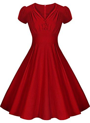 Missmay® Womens Short Sleeve V-neck 1950s Rockabilly Party Flared Evening Dress