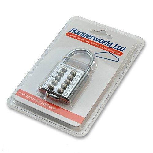 Hangerworld Pack of 2 10 Digit Metal Combination Security Padlocks for Staff & Gym Lockers 70mm x 35mm