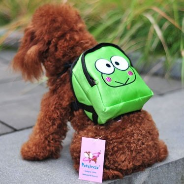 Vere Gloria Pet Carrier Backpacks, Cartoon Dog Back Packs for Food, Toys and More (Frog, Small)
