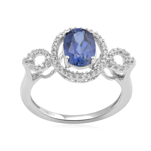 Sterling Silver Created Ceylon Sapphire and Diamond Ring