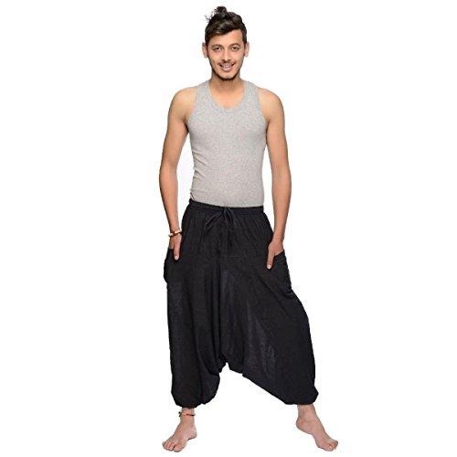 Sarouel, da uomo, pantalone etnica Aladin Harem Pant Aladdin baggy yoga Singharaja nero