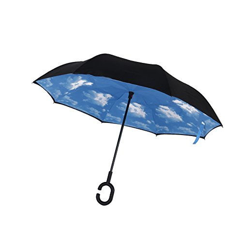 AUTOPKIO C-förmigen Hands Free Handle Umgekehrten Umbrella, Double Layer Umgekehrten Standing Inside Out Regenschutz Regenschirm