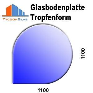 Glasbodenplatte für Kaminöfen Tropfenform 1100x1100 8mm   Kundenbewertung und Beschreibung