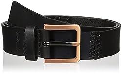Calvin Klein Women's 38mm Pieced Flat Strap with Hand Stitch Belt, Black, Small