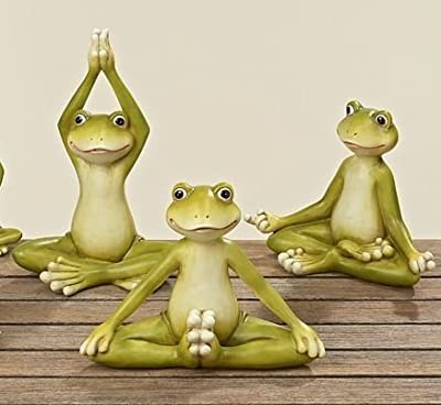 Yoga Frosch 3 er Set jeweils ca 14 cm Kunstharz