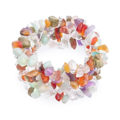 Bling Jewelry Woven Amethyst Unakite Chakra Multi Gemstone Chip Stretch Bracelet