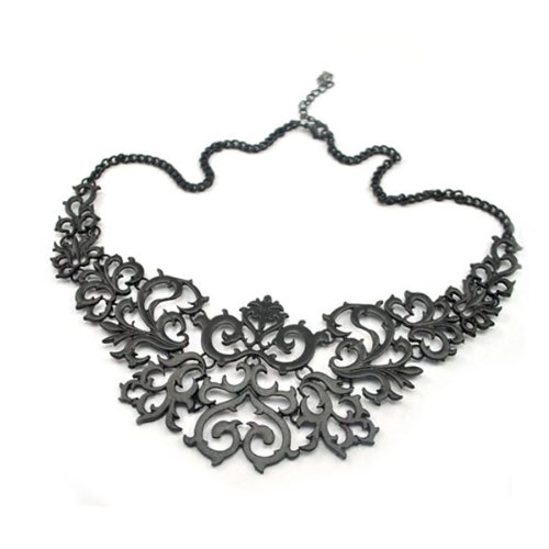 zacoo Black Fashion OL Style 49cm Women's Black Hollow Choker Necklace Adjustable Chain Pendants FJ0488