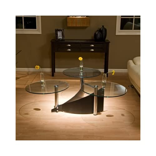 3 Way Motion Round Glass Coffee Table Round Coffee Table