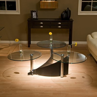 Chintaly 3 Way Motion Round Glass Coffee Table - CTY227