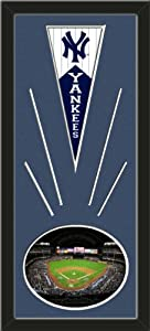 New York Yankees Wool Felt Mini Pennant & Yankee Stadium 2009 Photo - Framed With... by Art and More, Davenport, IA