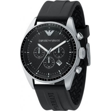 Emporio Armani Classic Collection Men's Quartz Watch with Black Dial Analogue Display and Black Leather Strap AR0527