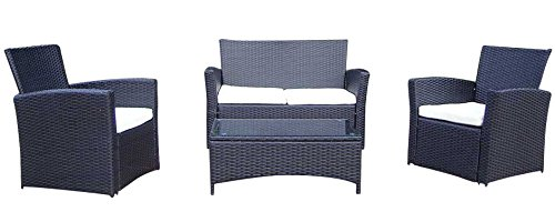 Baidani Gartenmöbel-Sets 10d00008.00001 Designer Garnitur Breeze, 1 Tisch mit Glasplatte, 2-er-Sofa, 2 Sessel, schwarz online kaufen