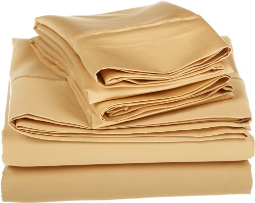 Egyptian Cotton 800 Thread Count Oversized King Sheet Set Solid, Gold front-1081526